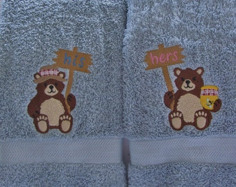 """Embroidered """"Northwoods Bear"""" His & Her Hand Towel (Set of 2)"""