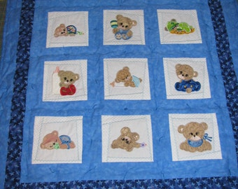 """Applique/Embroidered """"Tiny Teddy"""" Baby Quilt"""