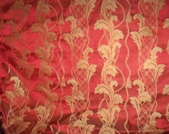 STROHEIM & ROMANN NEOCLASSICAL Empire Acanthus Leaves Tassels Strie Silk Damask Fabric 68 yard Bolt Ruby Gold