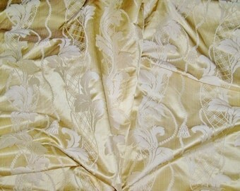 STROHEIM & ROMANN NEOCLASSICAL Empire Acanthus Leaves Tassels Strie Silk Damask Fabric 1 Yard Remnant Chiffon Opal