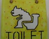 Hand painted tile, toilet plaque, door hanger, toilet sign, hand painted toilet sign, toilet gift, toilet hanger