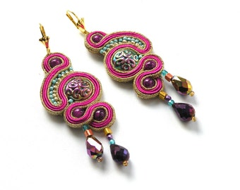 Madras - soutache earrings