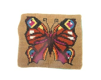 Vintage Pillow Cover Embroidered Pillow Cover Handmade Cross Stich Butterfly Pillow Cover Colorful Cushion Cover Home Decor Pillow Case