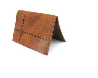 Mens wallet Genuine leather walletGift for dad Brown mens wallet Large mens wallet Soviet vintage wallet Mens Unused