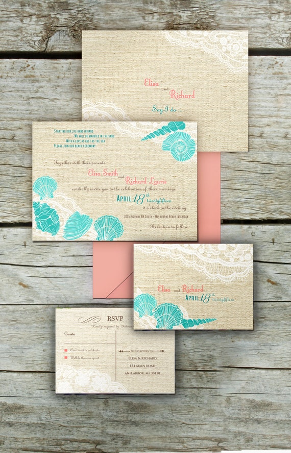 BEACH WEDDING INVITATION printable Destination Wedding Burlap Lace shells wedding