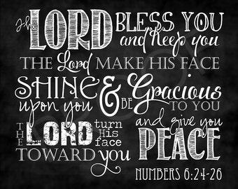 Scripture Art - Numbers 6:24-26 Chalkboard