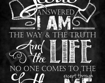 Scripture Art - John 14:6 Chalkboard Style
