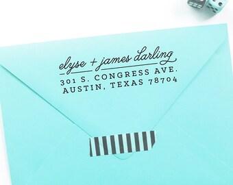 modern script & slab return address stamp / rubber stamp with wood handle