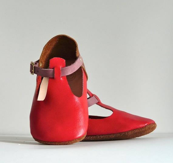 Red Mary Jane Soft Soled Handmade Baby Shoe
