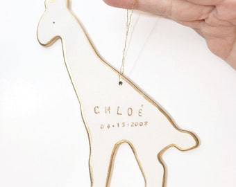 Giraffe Personalized Ornament White And 22k Gold Minimal Custom Holiday Christmas Gift Keepsake Decor Porcelain Pottery MADE TO ORDER