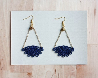 Lace earrings blue navy - CHOOSE your colour