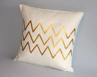 Decorative gold pillow cover,chevron pillow,throw pillow gold, cushion case gold white, metallic gold, throw pillows
