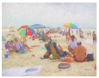 Colorful People on Beach Seashore Coastal 11x14 Glicee Print - Saturday at the Seashore ~ KORPITA ebsq