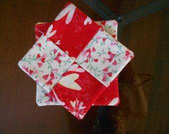 Valentine Coasters/ Fabric Coasters/ Valentine's Day Decor/ Coasters/ set of two