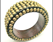 Brass Stud Wood Bangle - chunky Boho Bangle