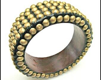 Brass Stud Wood Bangle - chunky Boho Bangle