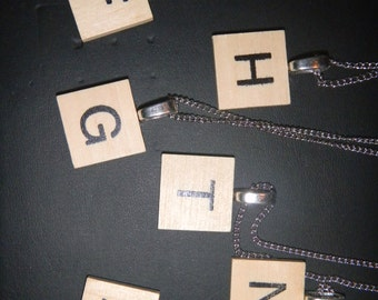 """Scrabble letter charm necklace on silver 18"""" chain"""