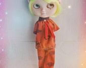 One handmade ooak Pants And Blouse Set pajamas night-suit for blythe or simillar dolls
