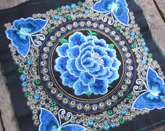 Blue Floral Textile Patch Embroidered Fabric Panel Blue Textile Panels DIY Textile Projects