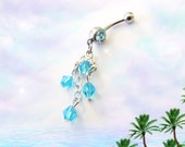 Belly Ring, Tropical Aqua Blue 3 Tier Crystal Chandelier, Belly Button Ring, Handmade Belly Button Jewelry For Women and Teens