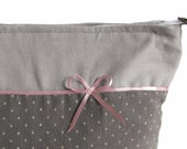 handmade washbag big toiletry bag dotted gray dopp kit sponge bag grey dots cotton fabric pink bow