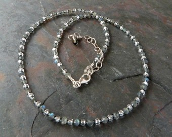 Labradorite Gemstone Necklace with Gray and Silver Czech Silver Lined Accent Beads, Handmade, Adjustable Length, Sterling Clasp
