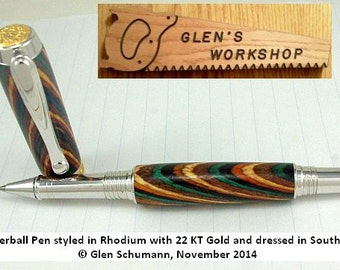 Roller ball Pen Handmade Gel Pen Executive Pen Rhodium 22 KT Gold Southwest Color Grain