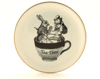 Recycled Alice in Wonderland March Hare Vintage Porcelain Plate Home Decor Lewis Carroll Sugar-White Romantic