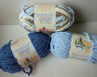 Yarn Sale  - Baby Blue, Baby Denim and Little Cosmos  Baby Blanket by Bernat