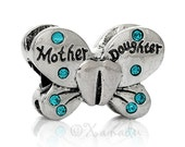 Mom Gift Idea - Mother Daughter Butterfly European Charm Bead With Aquamarine Rhinestones For Large Hole Charm Bracelets