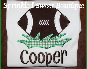 Football Grass Monogram Appliqué Sports Shirt Boys Girls Shirt Add Name