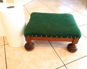 Padded wood foot stool,  retro foot stool, 40's 50's,  vintage home decor, shabby chic