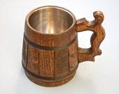 Groomsmen gift. Wooden Mug. Oak conical wood mug for cold and hot drinks. Handmade eco mug. Rustic Groom gift.