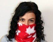 Canada Red and White Maple Leaf Neck Warmer / Fleece Neckwarmer / Oh Canada Neckwarmer / Team Canada Scarf / Maple Leaf Neckwarmer Scarf