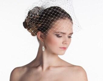 Bridal birdcage veil, wedding blusher veil for bride, bridal headpiece, ivory birdcage veil with pearls, wedding veil