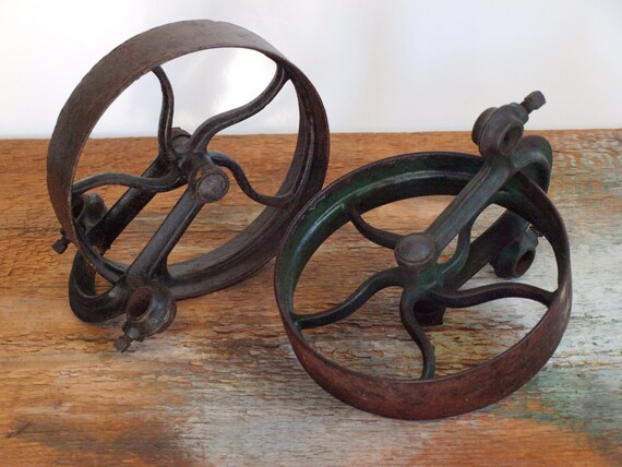 Cast Iron Wheels And Gears : Vintage cast iron gears pulleys wheels bookends