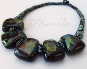 Black Watercolor Porcelain Necklace With Eclectic Turuqoise, Green, And Brown Cotton Details