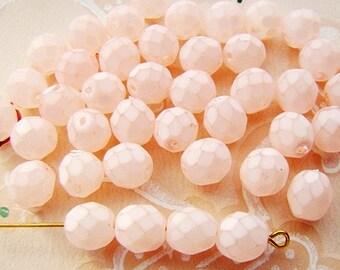 8mm Round Czech Glass Matte Coated Glass Beads Soft Pale Pink - 20