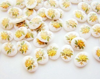 Vintage Tiny 8x6mm Yellow Rose Floral Bouquet Limoge Glass Cabochons Decal - 10
