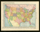Vintage Map United States From 1904 Original