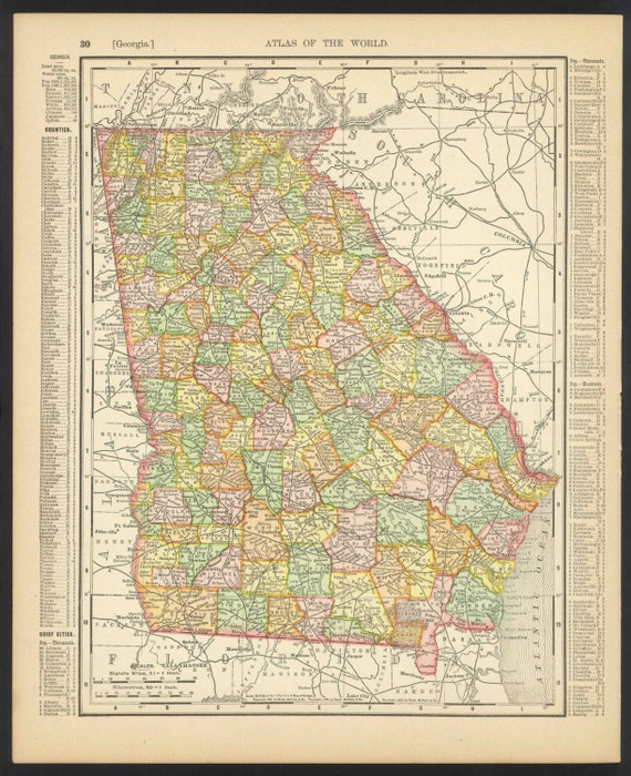 Vintage Map Georgia From 1904 Original By ManyPlacesMaps