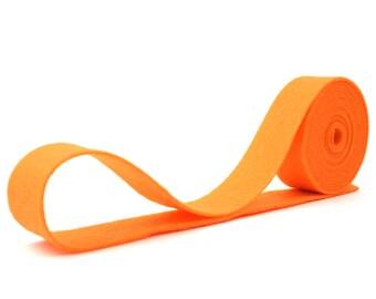 Wool Felt - 100 Percent Wool Felt Ribbon in color PUMPKIN - 3/4 Inch X 2 Yards - Merino Wool Felt - Orange Ribbon - Pumpkin Ribbon