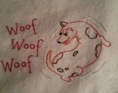 Flour sack Dishtowel - Dog chasing his tail