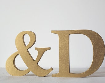 Gold letters, wooden letters, decorative letters, sweetheart table, wedding decor, gold initials