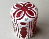Bohemian ruby glass pot White cut to red glass pot with lid Dressing table pot Hand painted floral glass vase Pink and white glass vase