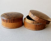 Olive Wood Jewelry Boxes, Jerusalem in Hebrew, Trinket box, Antique treen box, Small round wooden boxes, Round box with lid