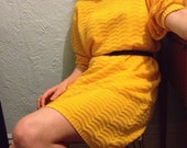 Vintage yellow sweater dress // Dolman sleeve // Golden Yellow // Slouchy fit