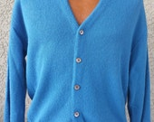 Classic BLUE 1960's Men's Cardigan- Medium-By Penneys Towncraft