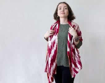silk wrap, silk stole, silk throw, silk ikat scarf, marsala scarf, Uzbek ikat scarf, Uzbek silk scarf, bright silk scarf, ooak silk scarf