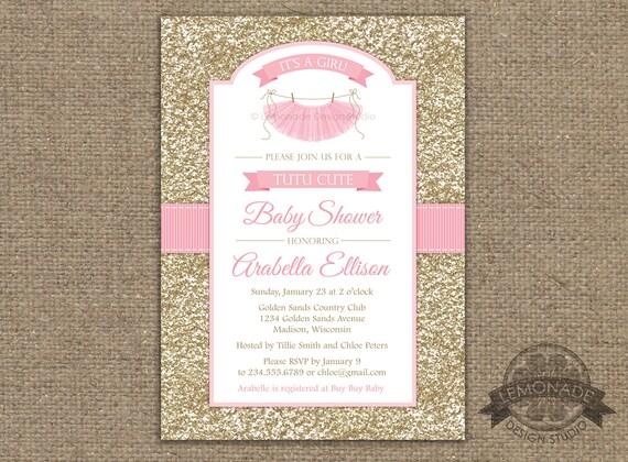 Tutu Cute Baby Shower Invitation Chevron Pink Grey Girl